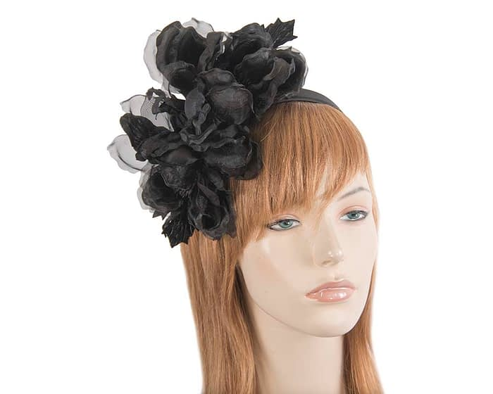 Large black flower headband fascinator by Fillies Collection Fascinators.com.au