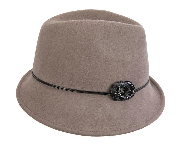 Grey ladies felt trilby hat by Max Alexander Fascinators.com.au
