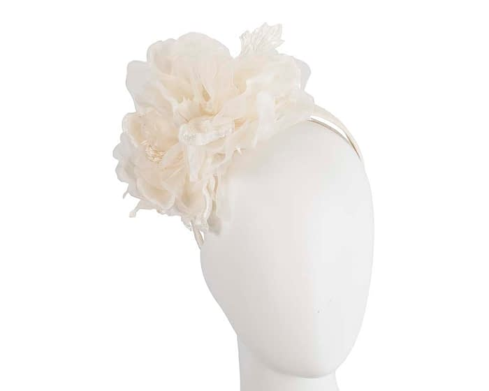 Large cream flower headband fascinator by Fillies Collection Fascinators.com.au