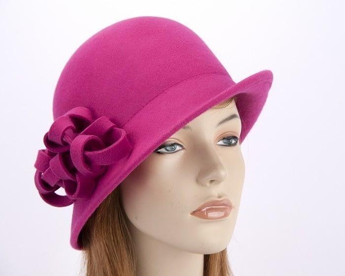 Fuchsia felt cloche hat with original trim J300F Fascinators.com.au