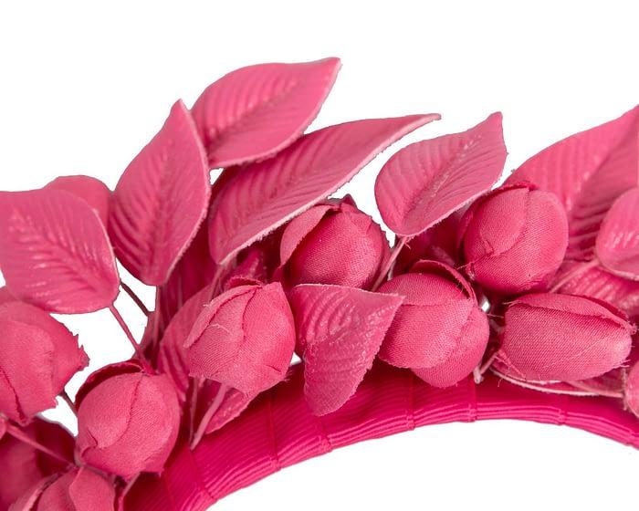 Fuchsia leather flower racing fascinator by Max Alexander Fascinators.com.au