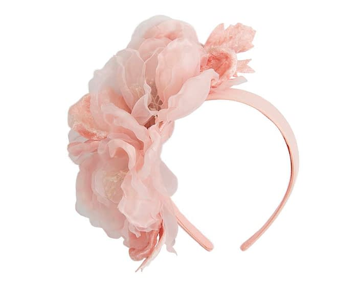 Large pink flower headband fascinator by Fillies Collection Fascinators.com.au