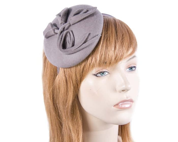 Small grey felt winter pillbox Max Alexander J297G Fascinators.com.au