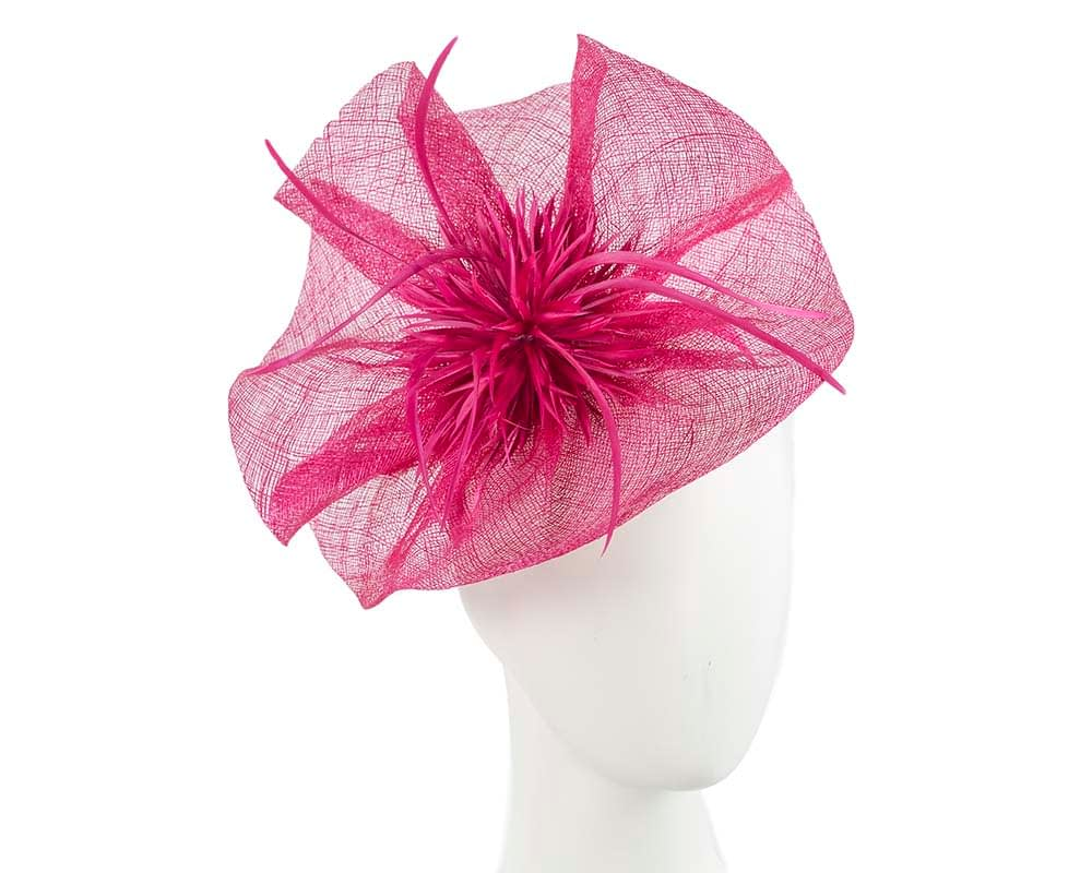 Large fuchsia Max Alexander fascinator for Melbourne Cup races Fascinators.com.au
