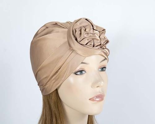 Beige fashion turban Fascinators.com.au MAT01 beige