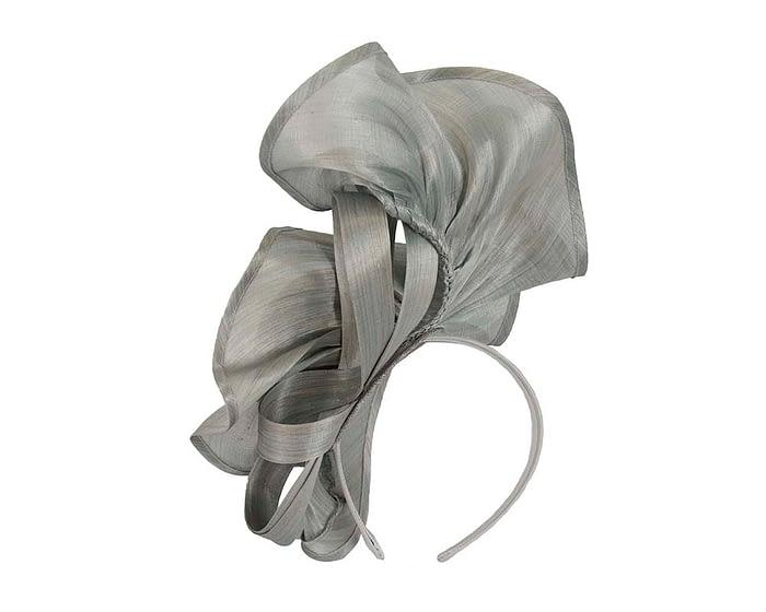 Exclusive silver silk abaca racing fascinator Fascinators.com.au