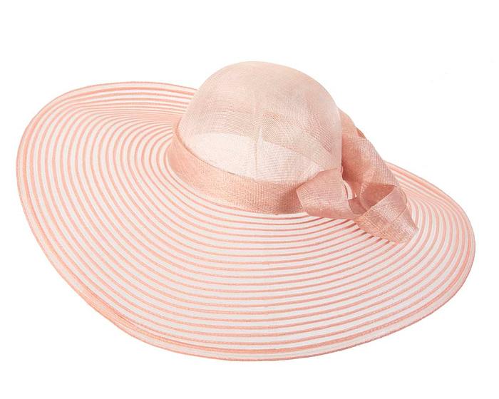 Wide brim peach fashion hat Fascinators.com.au