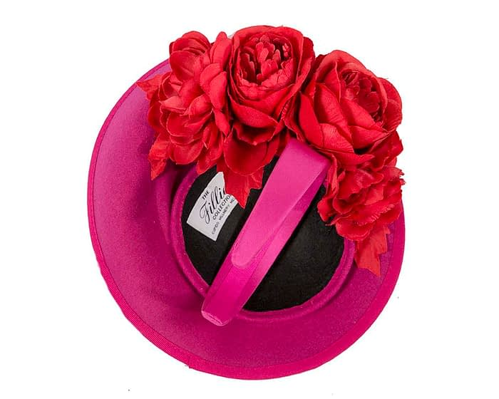 Large fuchsia fascinators with red flowers by Fillies Collection Fascinators.com.au