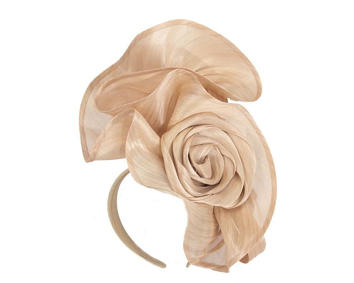 Exclusive nude silk abaca racing fascinator Fascinators.com.au