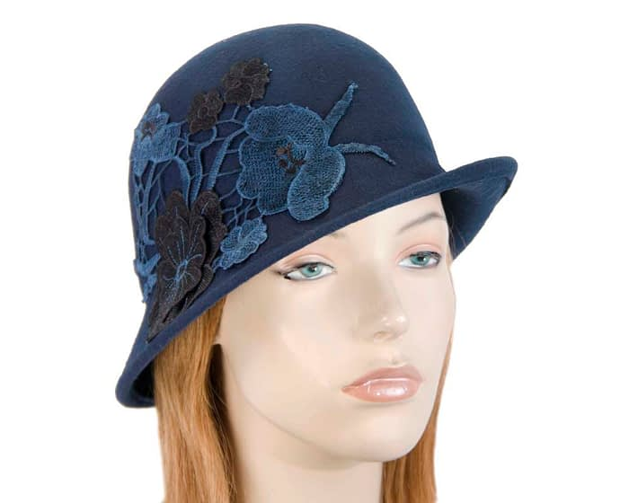 Navy felt bucket cloche hat with lace Fascinators.com.au