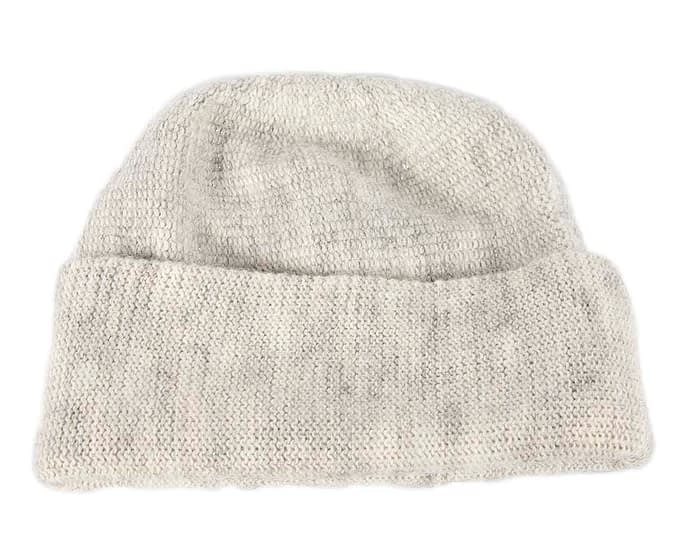 Light Grey warm wool beanie. Made in Europe Fascinators.com.au