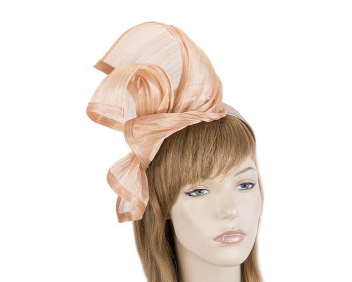 Twisted nude silk abaca fascinator by Fillies Collection Fascinators.com.au
