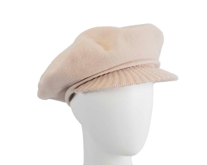 Warm nude woolen European Made cap Fascinators.com.au