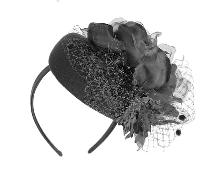 Black winter pillbox fascinator with flower by Fillies Collection Fascinators.com.au