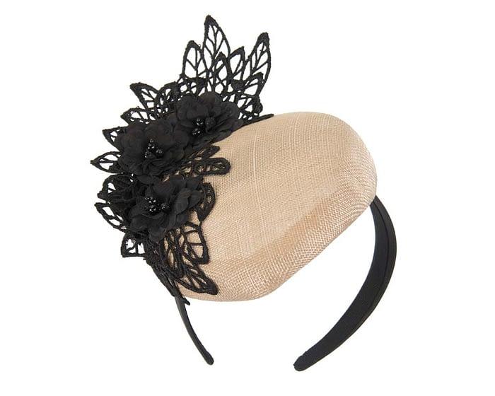 Nude & black lace pillbox fascinator Fascinators.com.au