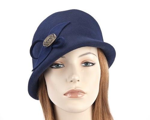 Navy felt bucket hat with brass buckle J302N Fascinators.com.au