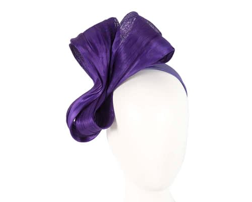 Large purple bow racing fascinator by Fillies Collection Fascinators.com.au