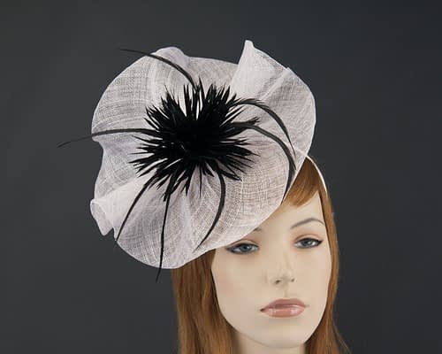 Large white black Max Alexander fascinator for Melbourne Cup races MA691WB Fascinators.com.au