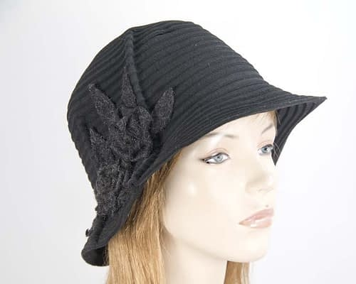 Soft black felt bucket hat Fascinators.com.au J330 black