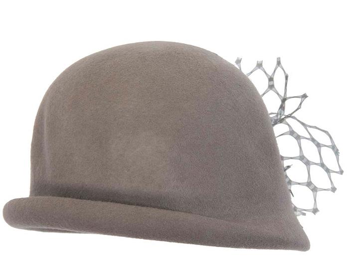 Grey cloche felt ladies winter hat with flower Fascinators.com.au