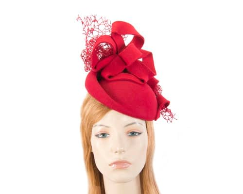 Bespoke red felt winter racing fascinator Fascinators.com.au