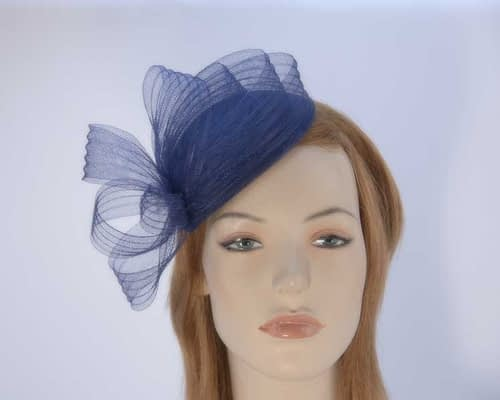 Navy fascinator pillbox for special occasion K5013N Fascinators.com.au