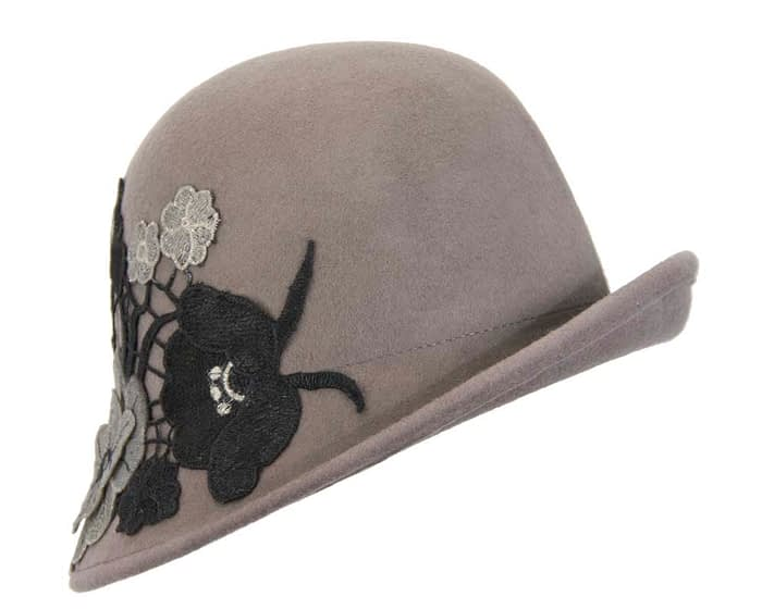 Grey felt bucket cloche hat with lace Fascinators.com.au