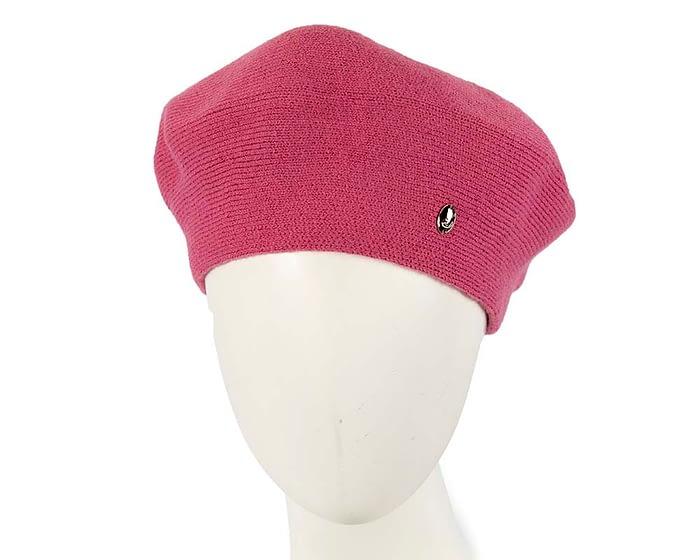 Classic warm fuchsia wool beret. Made in Europe Fascinators.com.au