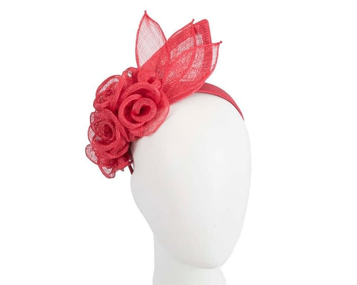 Red sinamay flower headband fascinator by Max Alexander Fascinators.com.au