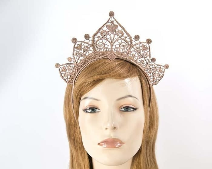 Rose gold lace crown Fascinators.com.au