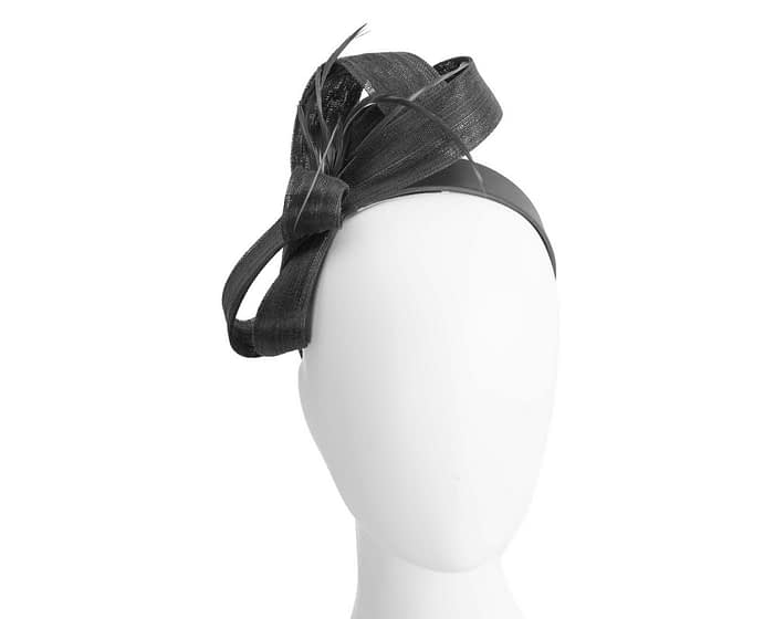 Black loops & feathers racing fascinator by Fillies Collection Fascinators.com.au