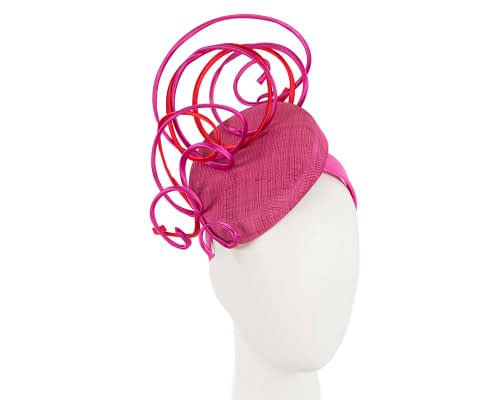 Bespoke fuchsia and red wire loops racing fascinator by Fillies Collection Fascinators.com.au