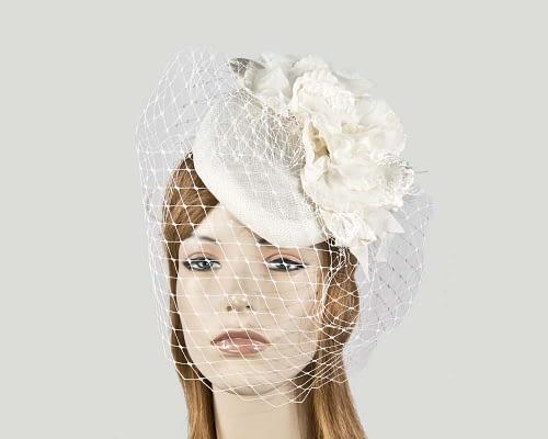 Cream flower pillbox with face veiling Fascinators.com.au