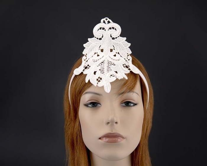 Small ivory crown lace fascinator for races MA670AI Fascinators.com.au