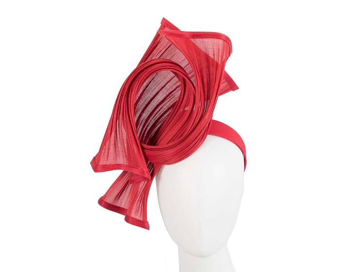 Bespoke red jinsin waves racing fascinator by Fillies Collection Fascinators.com.au