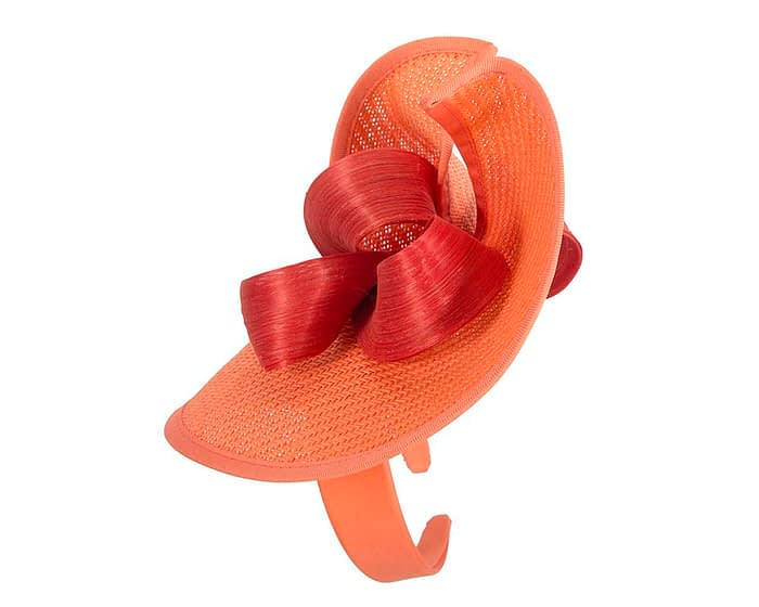 Coral designers racing fascinator with bow by Fillies Collection Fascinators.com.au