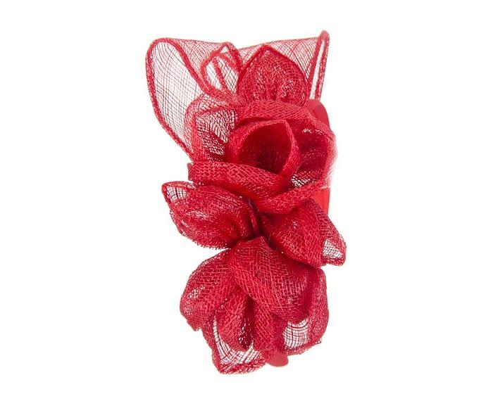 Red sinamay flowers headband Fascinators.com.au