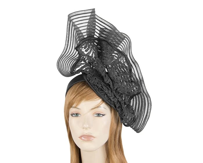 Tall black lace fascinator by Fillies Collection Fascinators.com.au