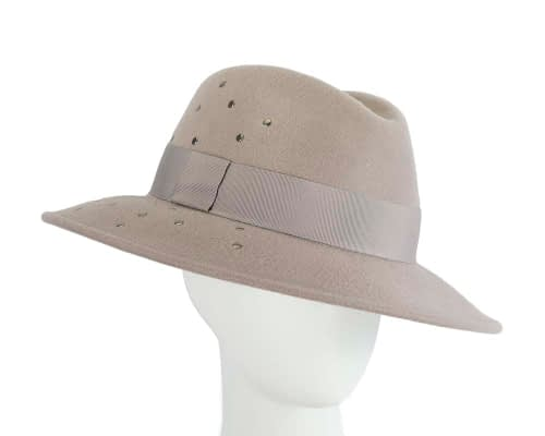 Wide brim grey felt fedora with studs by Max Alexander Fascinators.com.au