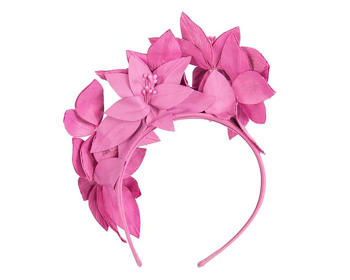 Fuchsia leather flower headband fascinator Fascinators.com.au