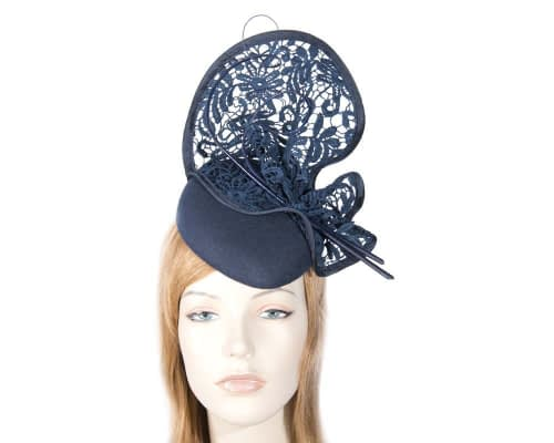 Navy cocktail hat lace trim for winter racing F568N Fascinators.com.au