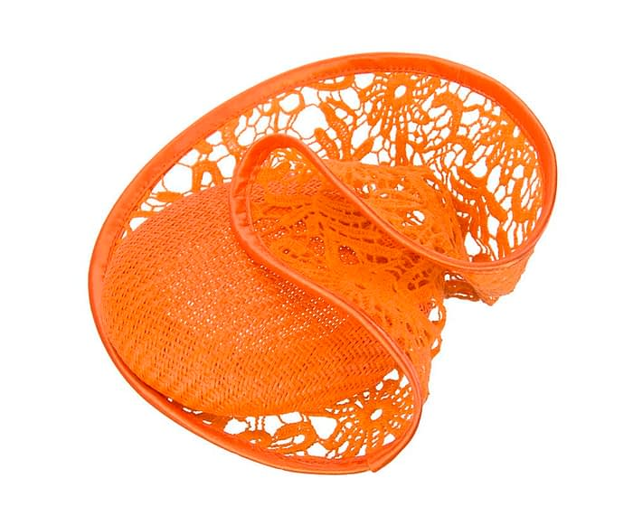 Orange lace headpiece Fascinators.com.au