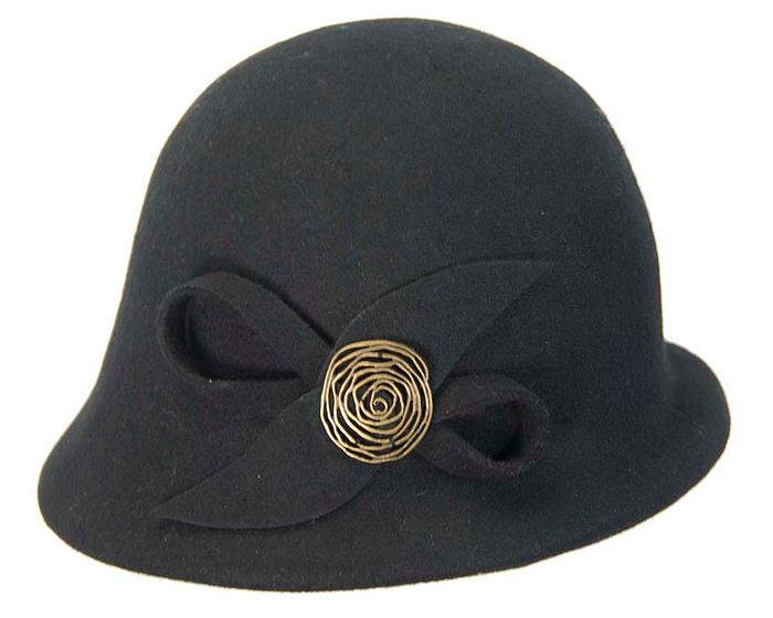 Black felt bucket hat with brass buckle J302B Fascinators.com.au