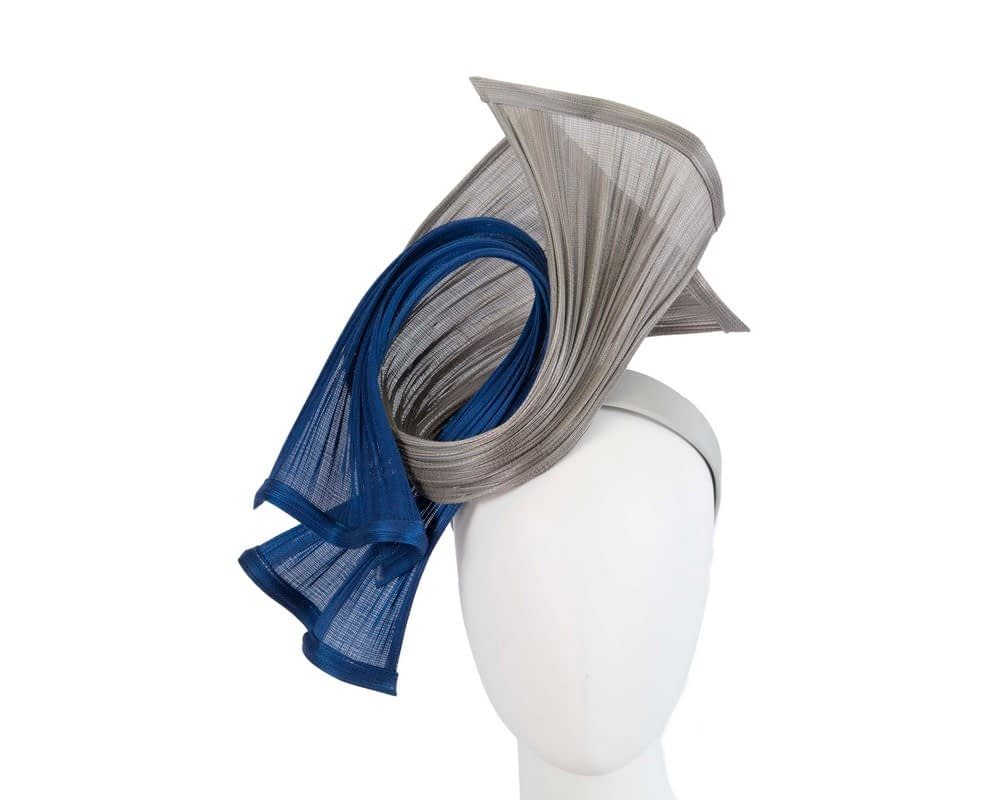Bespoke silver & royal blue jinsin waves racing fascinator by Fillies Collection Fascinators.com.au