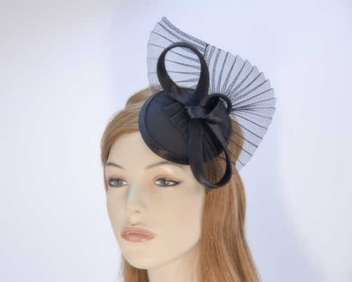 Black pillbox fascinator hat made in Australia buy online K5010B Fascinators.com.au