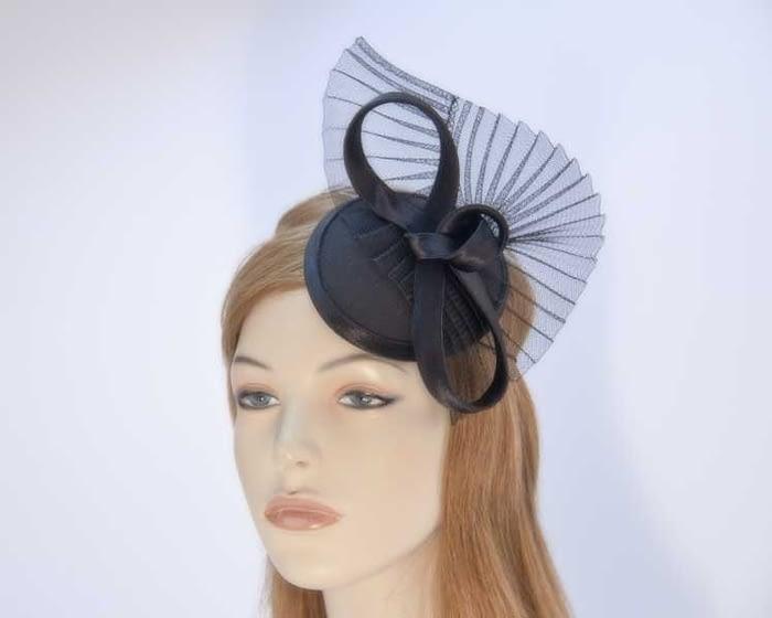 Black pillbox fascinator hat made in Australia buy online K5010B Fascinators.com.au