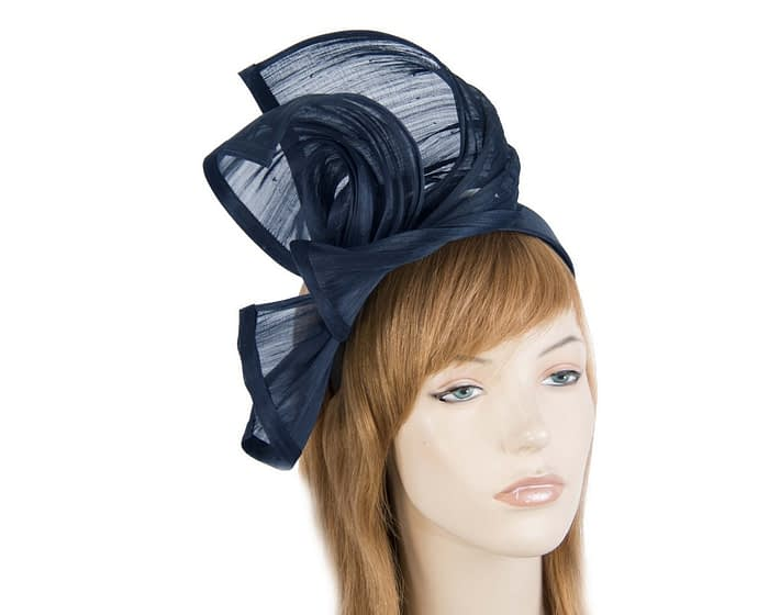 Twisted navy silk abaca fascinator by Fillies Collection Fascinators.com.au