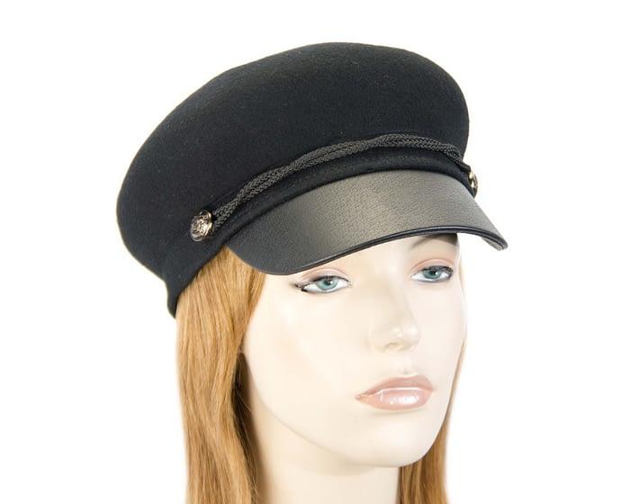 Black felt captains cap fashion hat Fascinators.com.au