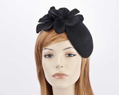 Black felt pillbox with flower J303B Fascinators.com.au