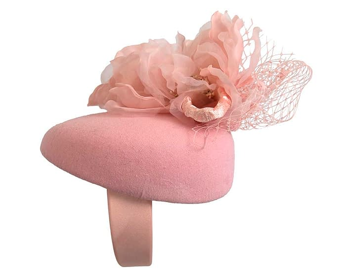 Pink winter pillbox fascinator with flower by Fillies Collection Fascinators.com.au